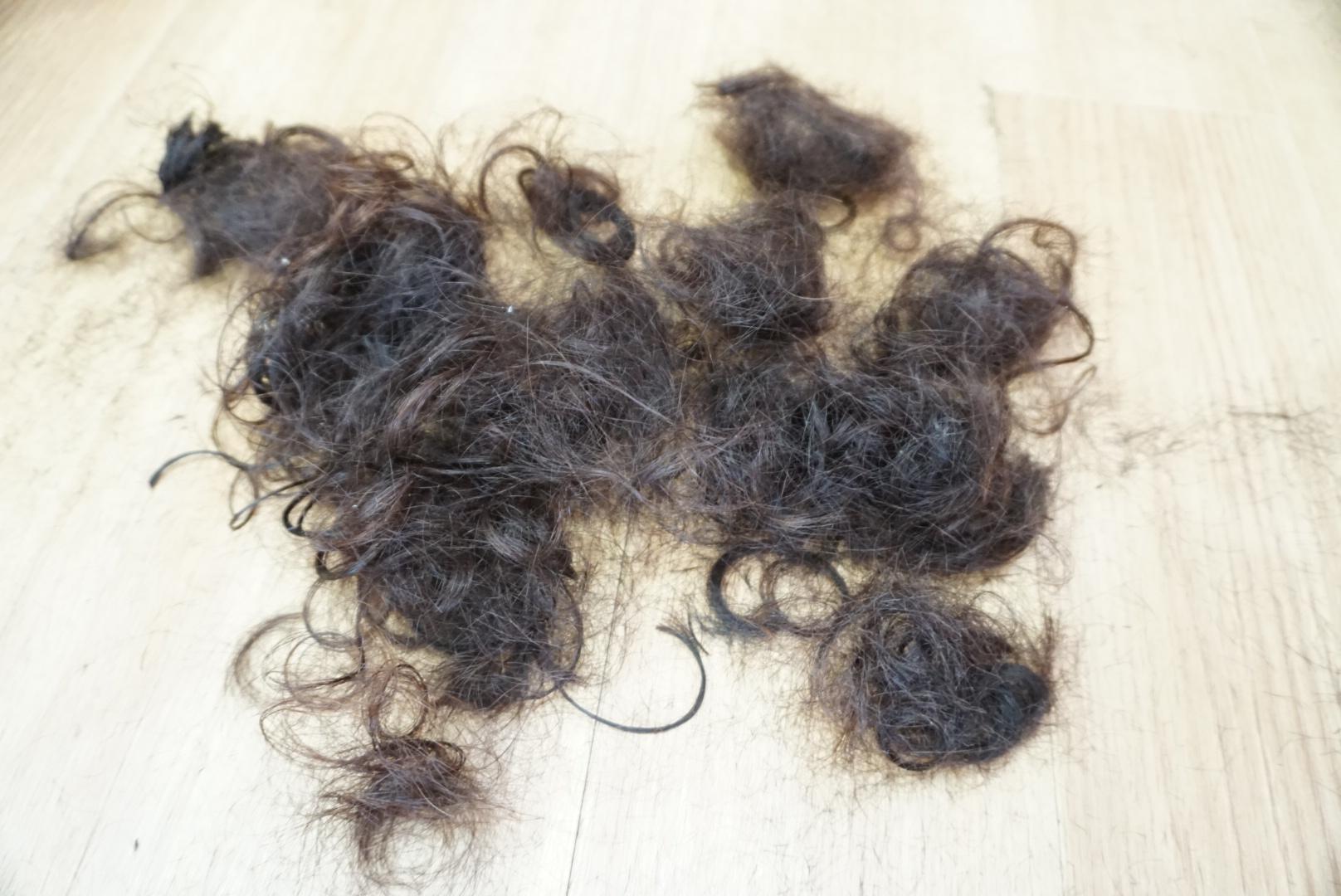 床に落ちた大量の髪の毛