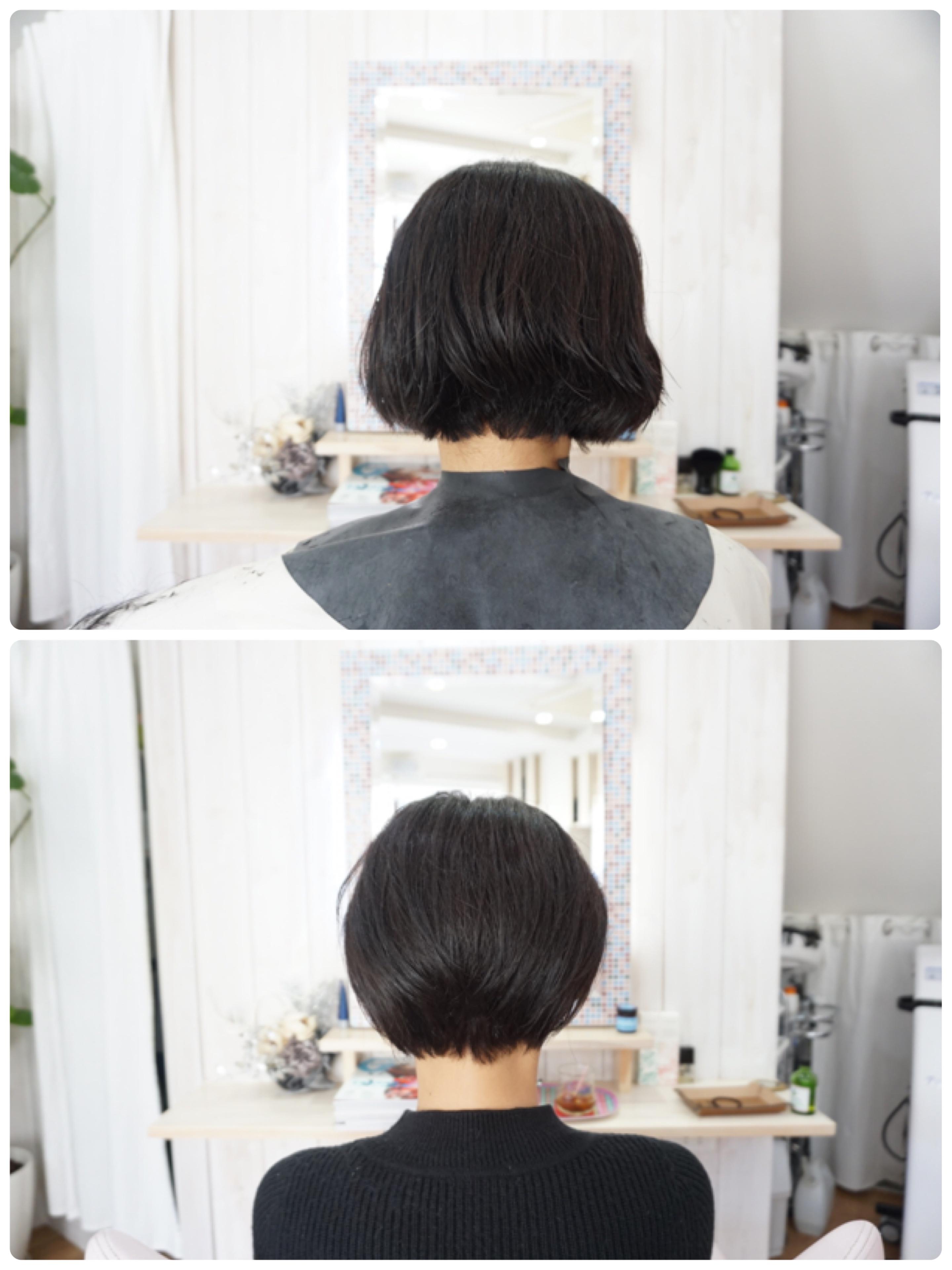 ベースカット終了時の女性とくせ毛カット終了後の女性の比較